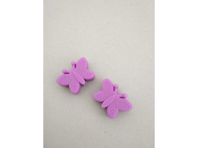 Silikonový korálek motýlek fialový