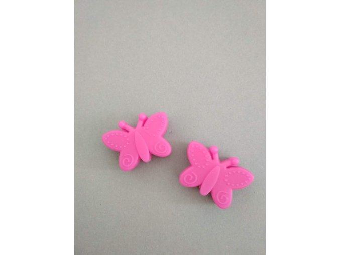 Silikonový korálek motýlek jasně růžový
