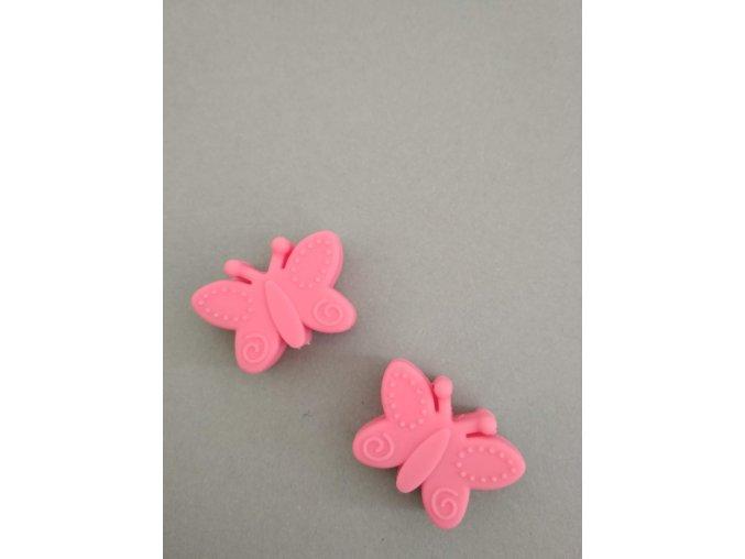 Silikonový korálek motýlek růžovočervený