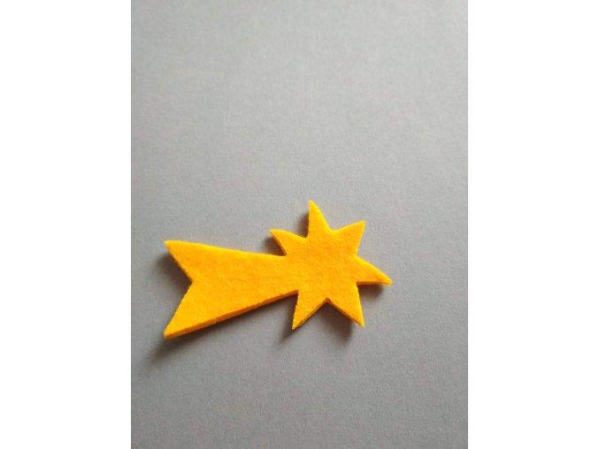 Výsek z filcu kometa malá žlutá