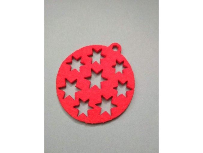 Výsek z filcu ozdoba s hvězdami červená