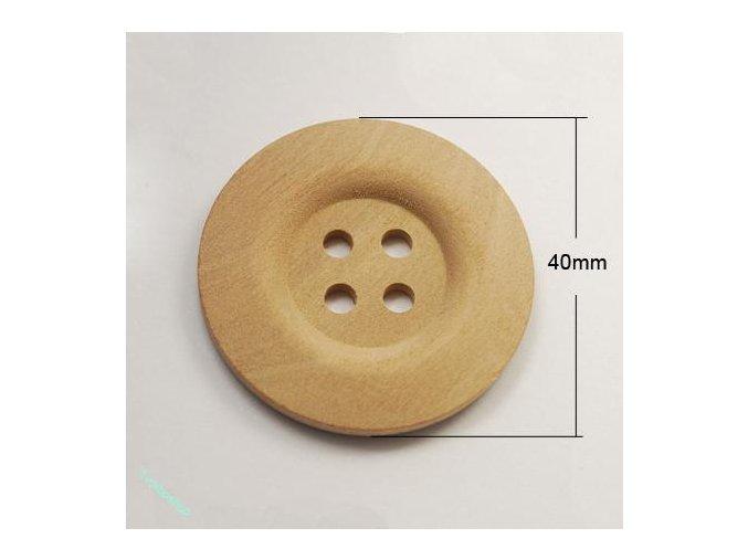 Knoflíky dřevěné přírodní 40 mm