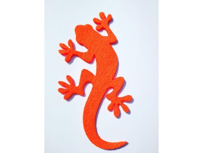 Výsek z filcu ještěrka oranžová