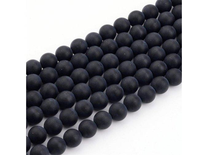 Achát černý frosted 6 mm