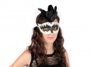 Karnevalová maska GLITRY s peřím