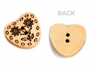 """Dřevěný knoflík srdce velikost 24"""""""