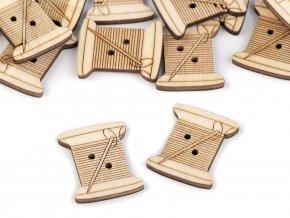Dřevěný knoflík šicí stroj, cívka, metr