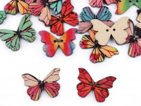 Dřevěný dekorační knoflík motýl