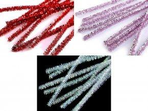 Vánoční chlupaté modelovací lurexové drátky Ø6 mm délka 30 cm