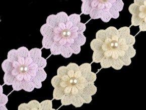 Krajka květ s perlou šíře 40 mm