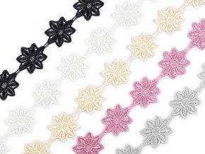 Vzdušná krajka / vsadka šíře 42 mm květy