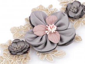 Monofilová aplikace / vsadka 3D 9,5x23 cm s květy