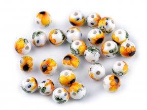 Porcelánové korálky s květy Ø8 mm