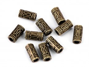 Kovové korálky váleček / koncovky na šňůrky 5x10 mm