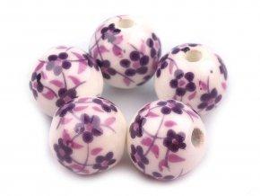 Porcelánové korálky s květy Ø12 mm