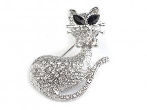 Brož kočka s broušenými kamínky