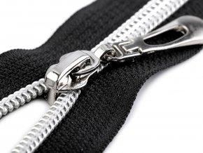 Spirálový zip se stříbrnými zoubky šíře 7 mm délka 60 cm