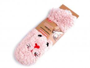 Dětské zimní ponožky s protiskluzem pejsek, králík