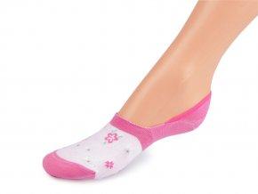 Dívčí bavlněné ponožky krátké, květy a puntíky