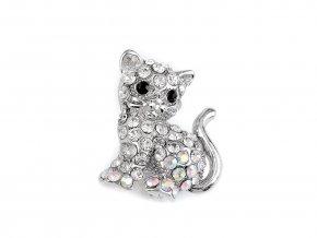 Brož s broušenými kamínky kočka, sova