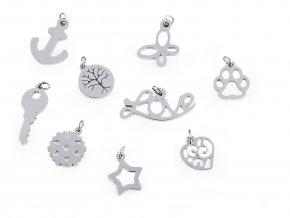 Přívěsek z nerezové oceli se spojovacím kroužkem - srdce, motýl, vločka, hvězda, kotva