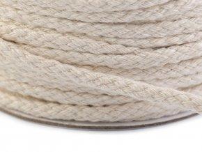 Oděvní šňůra / bavlněná příze / knot šíře 4 mm splétaná plochá