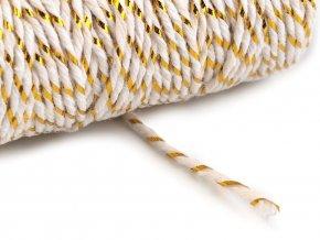 Vánoční bavlněná šňůra / provázek Ø1,5 mm s lurexem