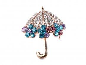 Brož s broušenými kamínky deštník, včela