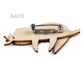Dřevěná brož liška, pes, lenochod, mýval, jednorožec