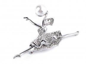 Brož s broušenými kamínky baletka s perlou