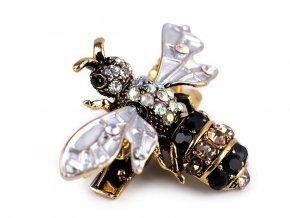 Brož / ozdoba s broušenými kamínky včela