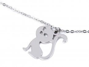 Náhrdelník z nerezové oceli kočka, srdce