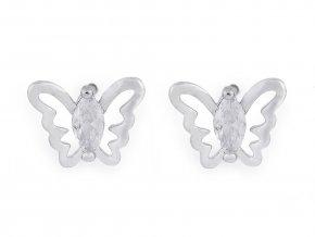Náušnice z nerezové oceli mini Love, mini motýl s broušenými kamínky