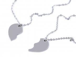 Sada náhrdelníků z nerezové oceli půlené srdce, best friends