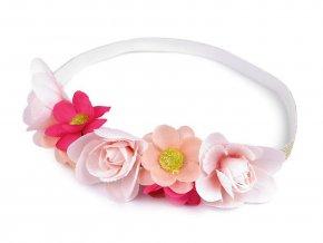 Pružná čelenka lurexová do vlasů s květy