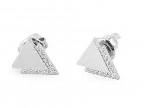 Náušnice z nerezové oceli kruhy, trojúhelníky s kamínky