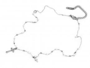 Náhrdelník z nerezové oceli křížek s broušenými kamínky