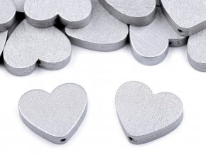 Dřevěné korálky srdce metalické 21x23 mm