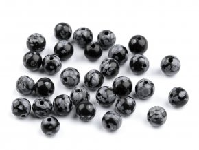 Minerálové korálky Obsidián vločkový Ø6 mm
