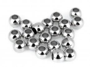 Plastové korálky Metalic s velkým průvlekem / plavkové 8x10 mm