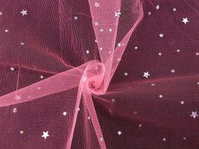 Vánoční oděvní / dekorační tyl s hvězdičkami s hologramem