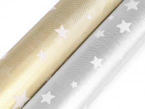 Vánoční dekorační látka s hvězdami šíře 48 cm 2. jakost