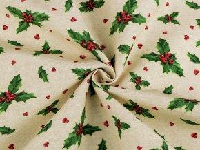 Vánoční dekorační látka Loneta sada s nití - cesmína