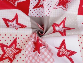 Vánoční bavlněná látka hvězdy