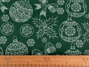 Vánoční bavlněná látka baňky