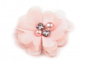 Textilní květ Ø50 mm s kamínky