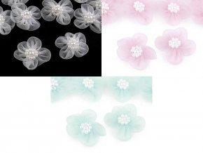 Monofilový květ Ø30 mm s perlami