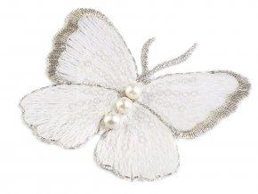 Textilní aplikace / nášivka motýl s perlami vyšívaný velký