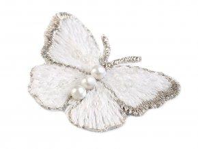 Textilní aplikace / nášivka motýl s perlami vyšívaný malý