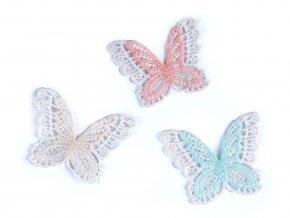 Textilní aplikace / nášivka krajková motýl
